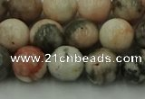 CZJ552 15.5 inches 8mm round pink zebra jasper beads wholesale