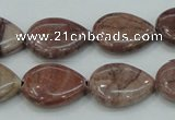 CZJ81 16 inches 15*20mm flat teardrop red zebra jasper beads wholesale