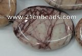 CZJ85 16 inches 30*40mm oval red zebra jasper beads wholesale