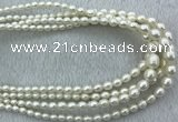 FWP212 15 inches 4mm - 9mm rice white freshwater pearl strands