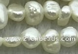 FWP234 14.5 inches 3mm - 4mm baroque white freshwater pearl strands