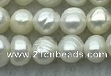 FWP25 14.5 inches 4mm - 4.5mm potato white freshwater pearl strands