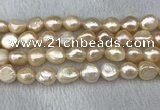 FWP305 15 inches 11mm - 12mm baroque pink freshwater pearl strands