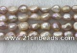 FWP306 15 inches 11mm - 12mm baroque purple freshwater pearl strands