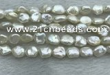 FWP352 15 inches 6mm - 7mm baroque white freshwater pearl strands