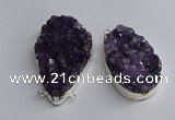 NGC1321 35*50mm - 40*60mm freeform druzy amethyst connectors