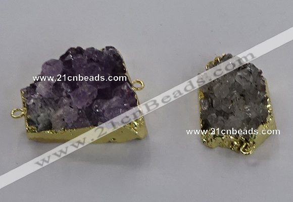 NGC1436 20*25mm - 25*30mm freeform druzy amethyst connectors