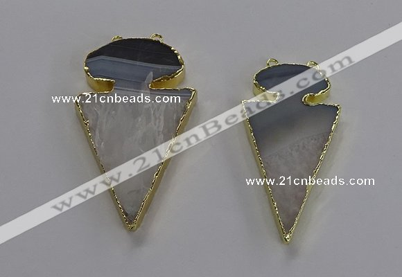 NGC1438 25*50mm - 30*55mm arrowhead agate gemstone connectors