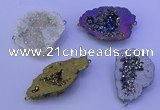 NGC1478 28*35mm - 40*45mm freeform plated druzy agate connectors