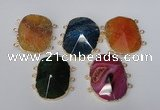 NGC209 30*40mm freeform agate gemstone connectors wholesale