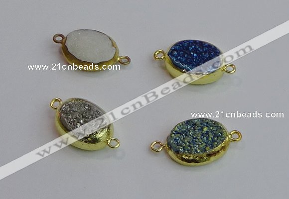 NGC5975 15*20mm oval plated druzy agate connectors wholesale