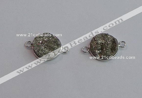 NGC5981 15mm coin plated druzy agate connectors wholesale