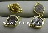 NGC6003 12*12mm hexagon plated druzy agate connectors wholesale