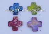 NGP02 5PCS 45*45mm cross dyed imperial jasper pendants wholesale