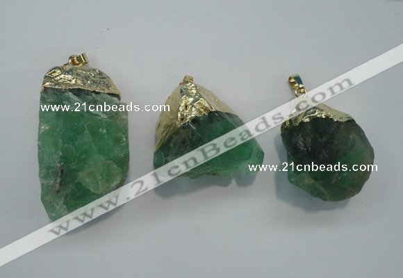 Nuggets green fluorite pendants