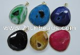 NGP1112 25*30 - 45*55mm freeform druzy agate pendants with brass setting