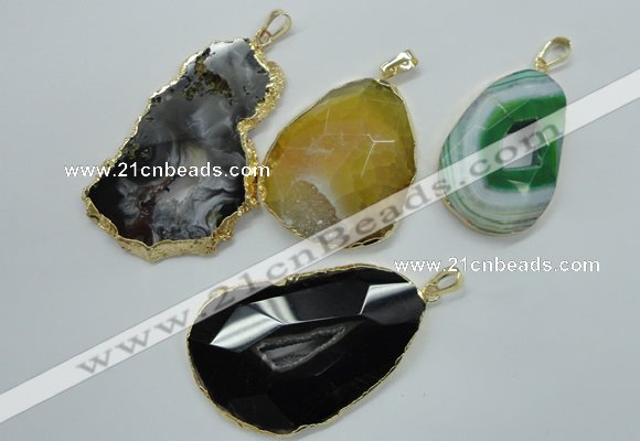 Freeform druzy agate pendants with brass setting