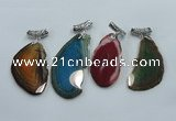 NGP1230 35*65mm - 45*70mm freeform agate pendants with brass setting
