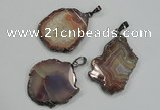 NGP1284 30*40mm – 35*45mm freeform agate pendants with brass setting