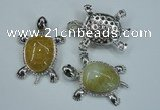 NGP1296 43*60mm tortoise agate pendants with crystal pave alloy settings