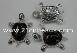 NGP1300 43*60mm tortoise agate pendants with crystal pave alloy settings
