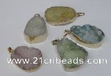NGP1514 20*30mm - 25*35mm freeform plated druzy agate pendants