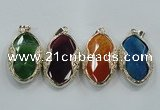 NGP1566 11*32*58mm marquise agate with brass setting pendants