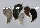 NGP1695 20*40mm - 35*70mm carved leaf agate gemstone pendants