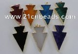 NGP1719 28*50mm - 30*55mm arrowhead agate gemstone pendants
