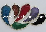 NGP1774 25*45mm - 35*65mm wing-shaped agate gemstone pendants