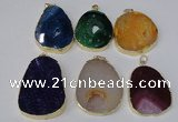 NGP2220 30*40mm - 40*45mm freeform druzy agate gemstone pendants