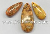 NGP260 15*30mm - 20*50mm flat teardrop sea sediment jasper pendants set