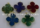 NGP3340 43*45mm - 45*47mm flower agate gemstone pendants