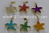 NGP3517 24*25mm starfish fossil coral pendants wholesale