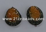 NGP3676 35*45mm freeform plated druzy agate pendants wholesale