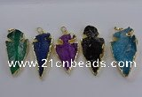 NGP3819 25*45mm - 30*60mm arrowhead dyed white crystal pendants