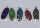 NGP3970 22*45mm - 25*50mm oval druzy agate pendants wholesale