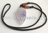 NGP5580 Lavender amethyst teardrop pendant with nylon cord necklace