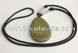 NGP5623 Unakite flat teardrop pendant with nylon cord necklace