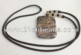 NGP5625 Rhodonite rectangle pendant with nylon cord necklace
