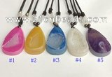 NGP5650 Agate flat teardrop pendant with nylon cord necklace