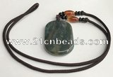 NGP5701 Agate oval pendant with nylon cord necklace