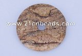 NGP607 5pcs 5*40mm picture jasper gemstone donut pendants wholesale