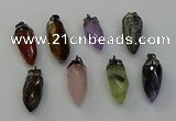 NGP6448 12*24mm - 15*30mm faceted bullet mixed gemstone pendants