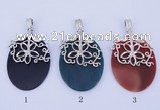 NGP783 5PCS 38*55mm oval agate gemstone pendants with brass setting