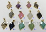 NGP9605 18*25mm faceted diamond plated druzy agate pendants
