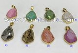 NGP9609 18*25mm faceted teardrop plated druzy agate pendants