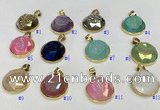 NGP9612 20mm faceted coin plated druzy agate pendants