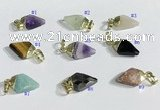 NGP9728 11*15mm arrowhead-shaped  mixed gemstone pendants wholesale