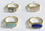NGR1124 8*16mm oval mixed gemstone rings wholesale